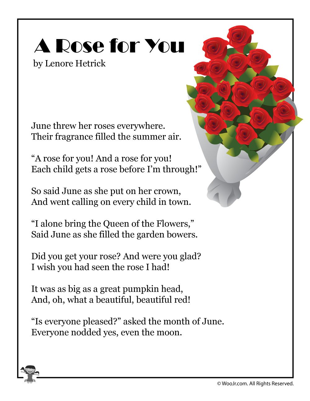 A Rose For You Poem About June Woo Jr Kid Activitie Flower Short Poems Theme Of I Wandered Lonely Cloud