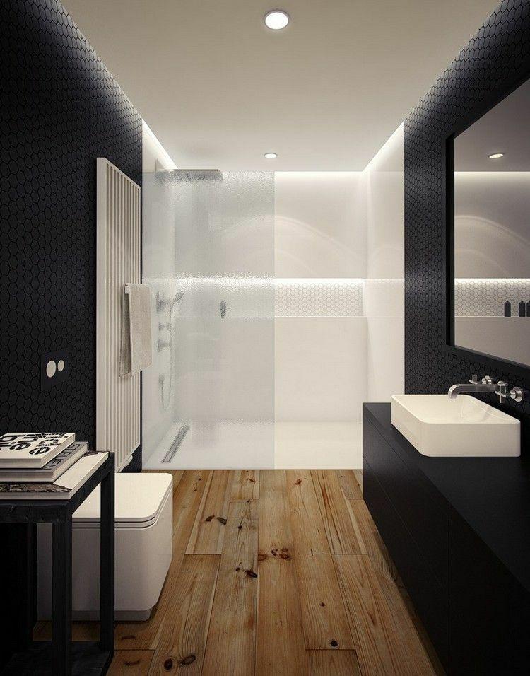 Duchas 50 opciones para ba os peque os paredes negras for Lavabo bano pequeno