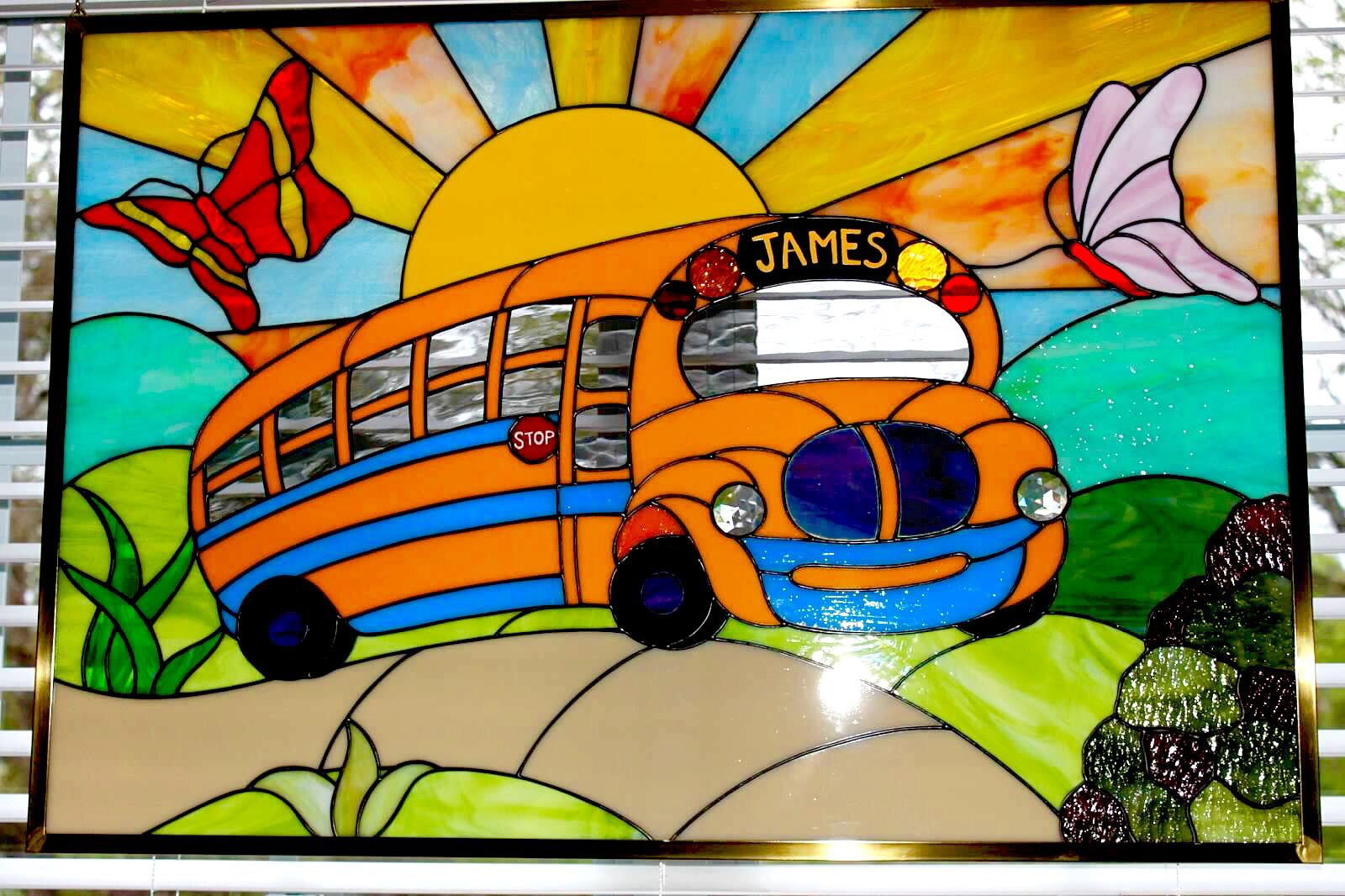Child's personalized school bus  J&M Stained Glass, North