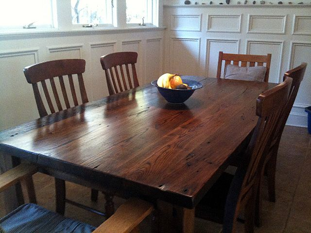 Superior A Table Of Reclaimed Thick Plank Wormy Chestnut That Retains All The Rustic  History Of The 1901 Shenandoah Valley Orchard Barn That It Was Salvaged  From.