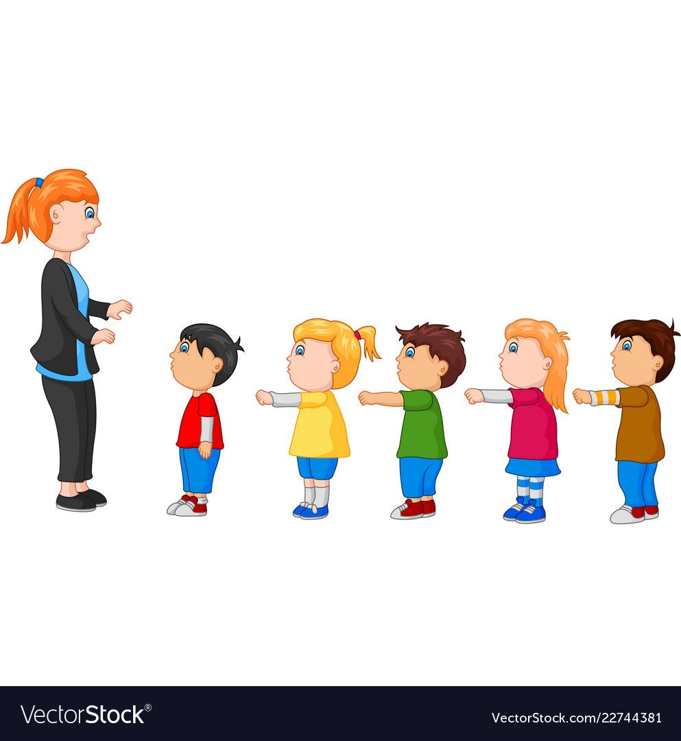 Kids With Arms Standing In Line Front Of