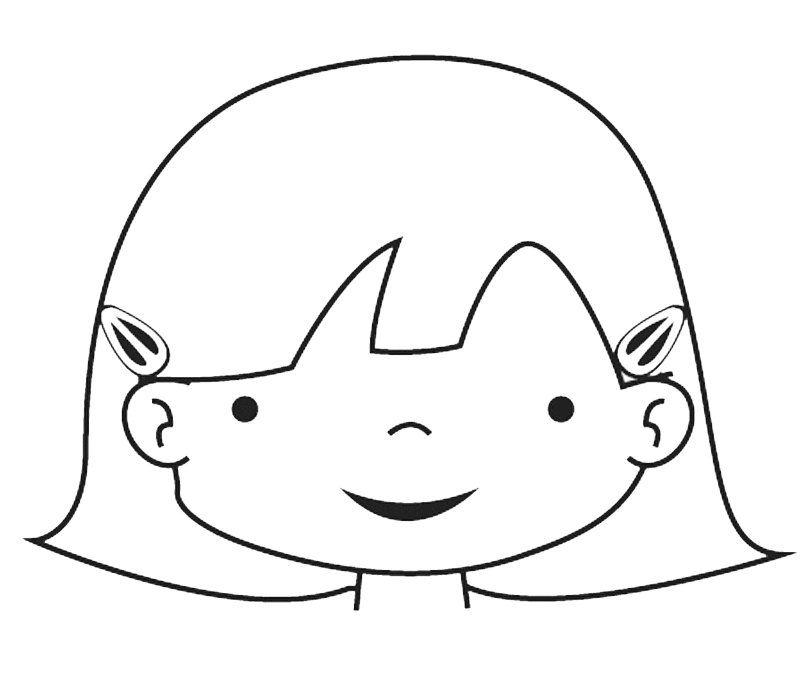 Dibujo De La Cara De Una Niña Para Colorear Con Los Niños Moldes