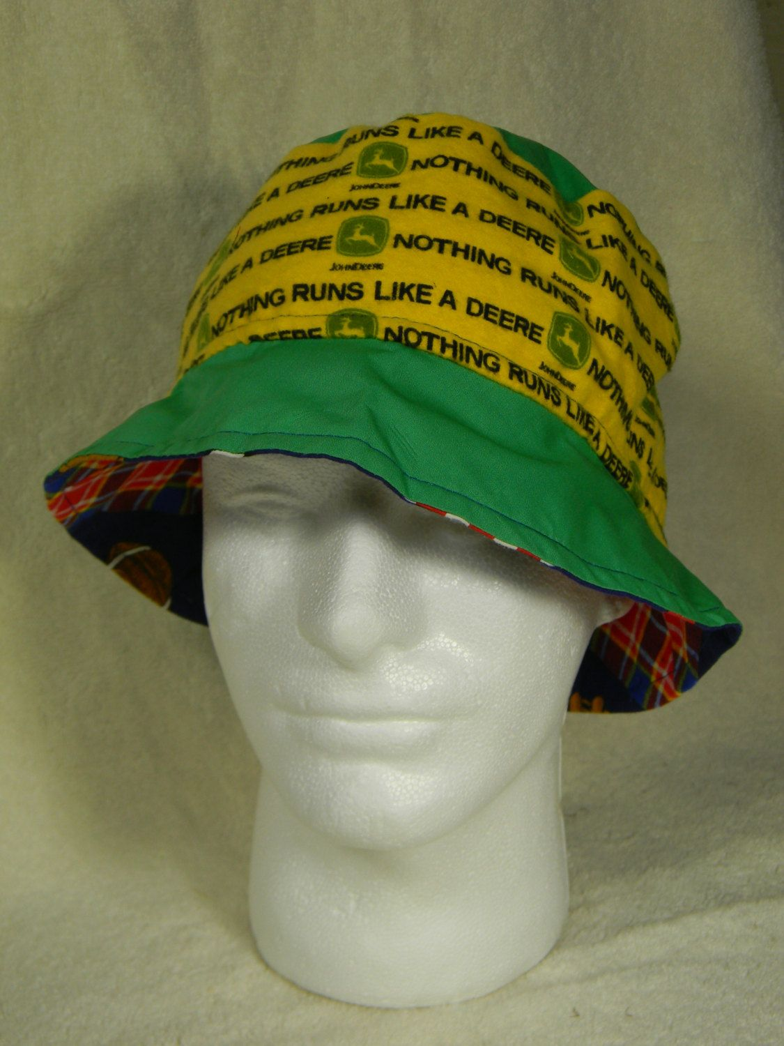 81dcc2e4b46 Reversible Bucket Hat John Deere Nothing Runs Like A Deere Sports Football  Baseball Soccer Theme in Green Yellow Red Blue One Size Fits Most by ...