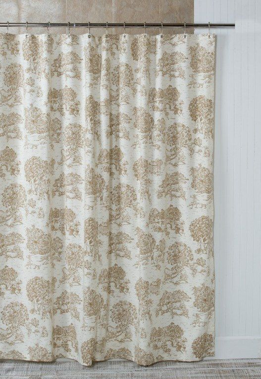 French Toile Shower Curtain Gray Fabric In 2019