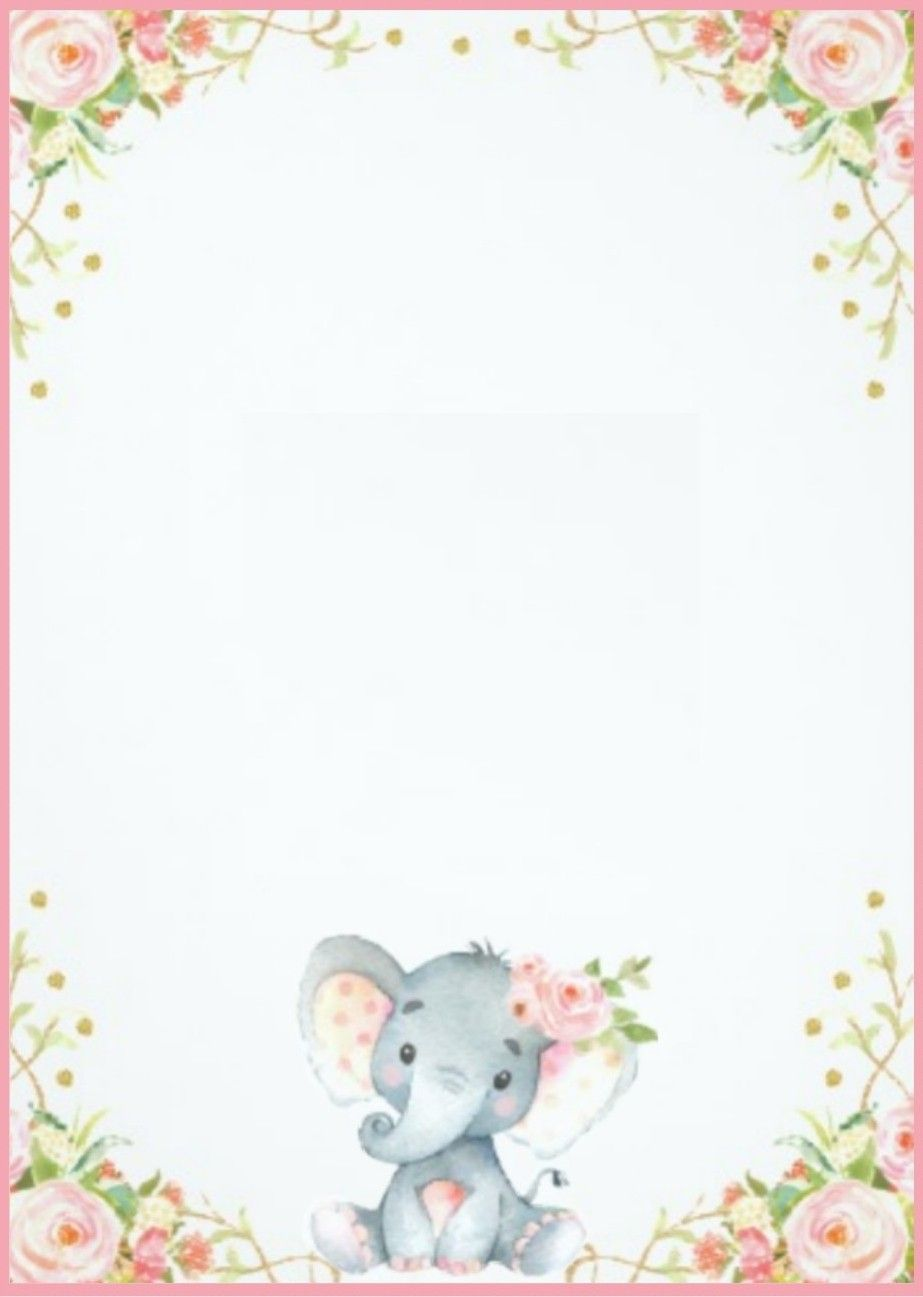 Elephant invitation/ template BABY SHOWER birthday  Plantillas de