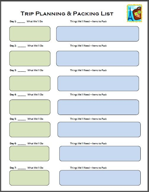 Simplify packing for your next vacation with this Trip Planning printable -- an easy way to see what you SHOULD be taking with you!