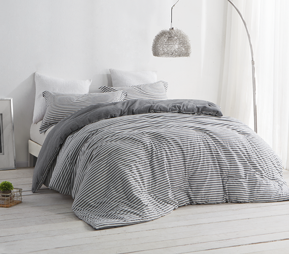 Dorm Room Bedding Striped Gray And White College Comforter Dorm Room Essentials Dorm Room Bedding Dorm Room Comforters Bed Linens Luxury