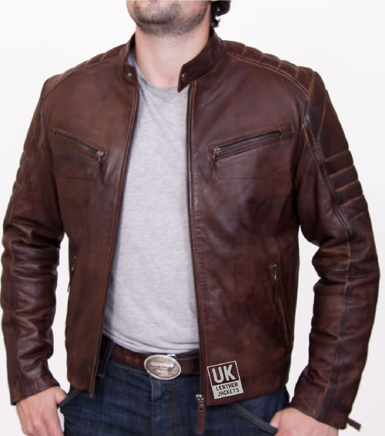 Mens Brown Leather Biker Jacket Kestrel UK LJ