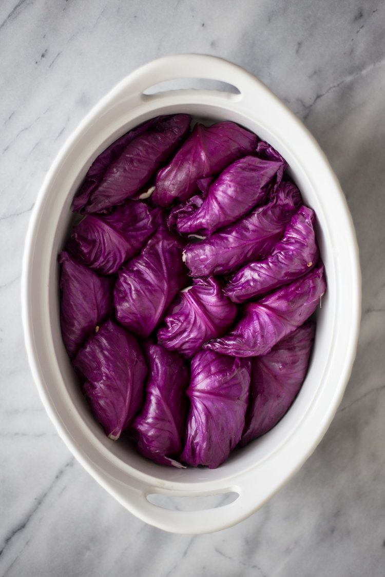 Asian Stuffed Red Cabbage Rolls — Madeline Hall