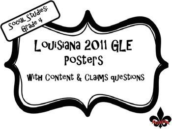 4th Grade Louisiana GLE Posters for Social Studies Black