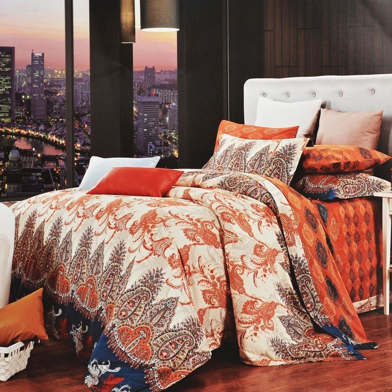 burnt orange brown and beige western paisley park print bohemian chic retro and luxury egyptian cotton full queen size bedding sets