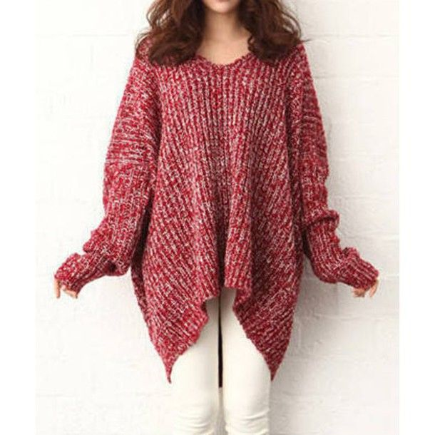 c15qj2-l-610x610-sweater-red-red sweater-cute-cute dress-oversized ...