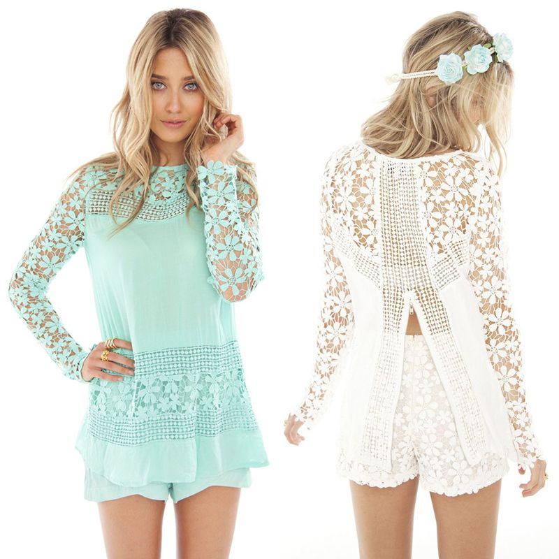 Women's Long Sleeve Lace Crochet Skater Chiffon Dressy Top Loose Layered Patchwork Polo Tshirt Dress