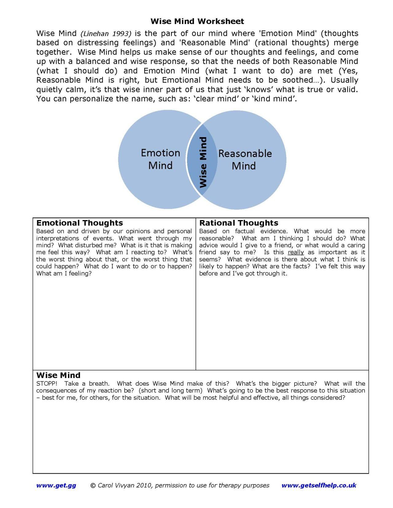 Worksheets Wise Mind Worksheet healingschemas dbt self help resources diary wise mind one