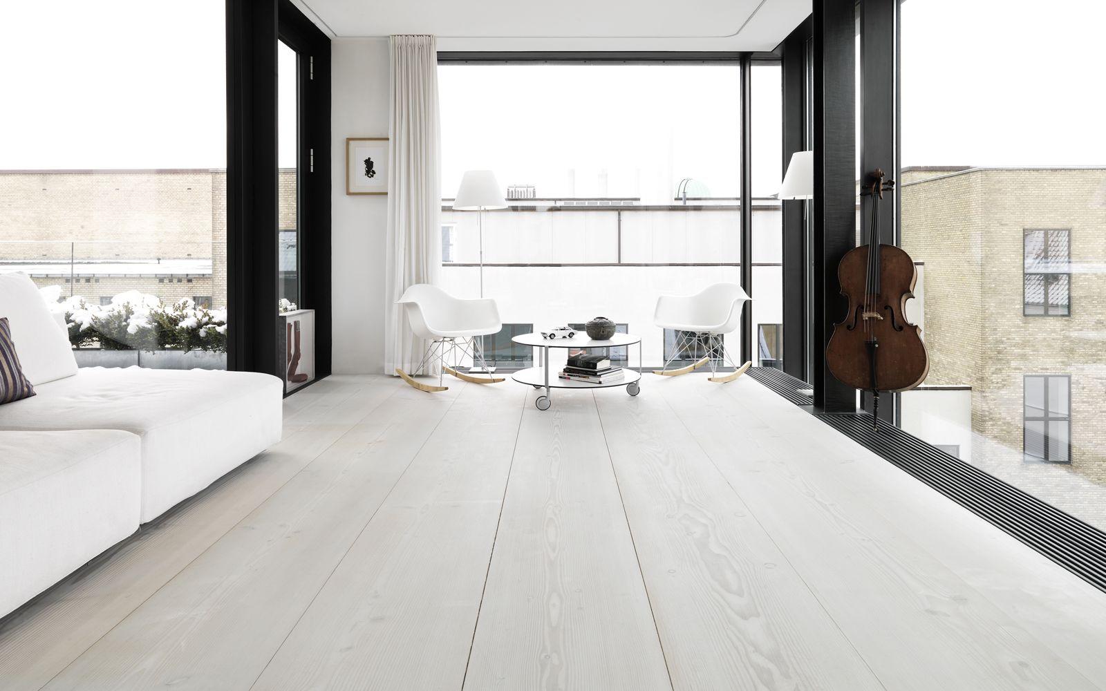 Love the white wide plank floors (my scandinavian home