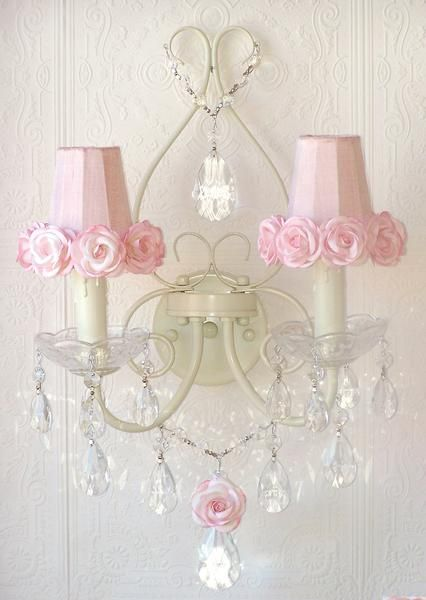 Double Light Antique White Wall Sconce With Pink Rose Shades Shabby Chic Room Shabby Chic Pink Shabby Chic Bathroom