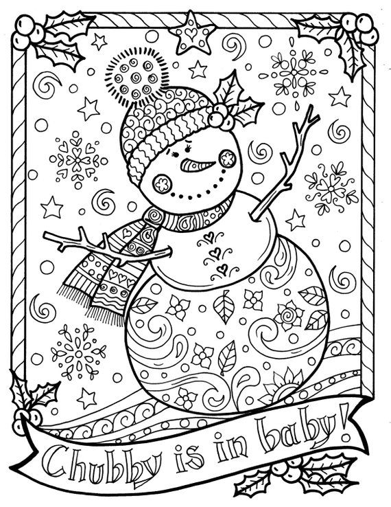 christmas doodle coloring pages for adults | Snowman Coloring page Chubby Christmas Adult Color ...