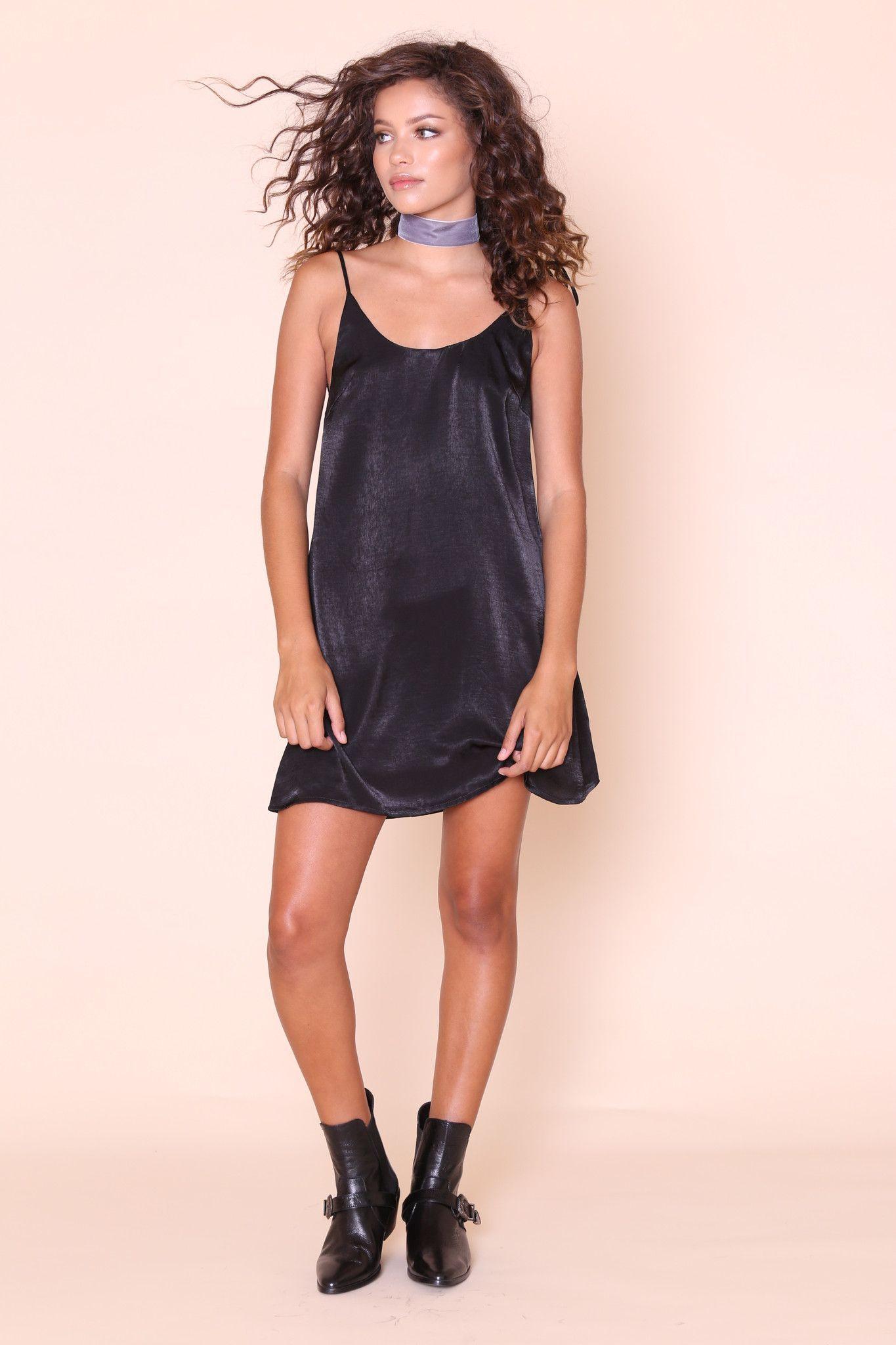 Silky cami slip dress adjustable tie straps with metal tips open