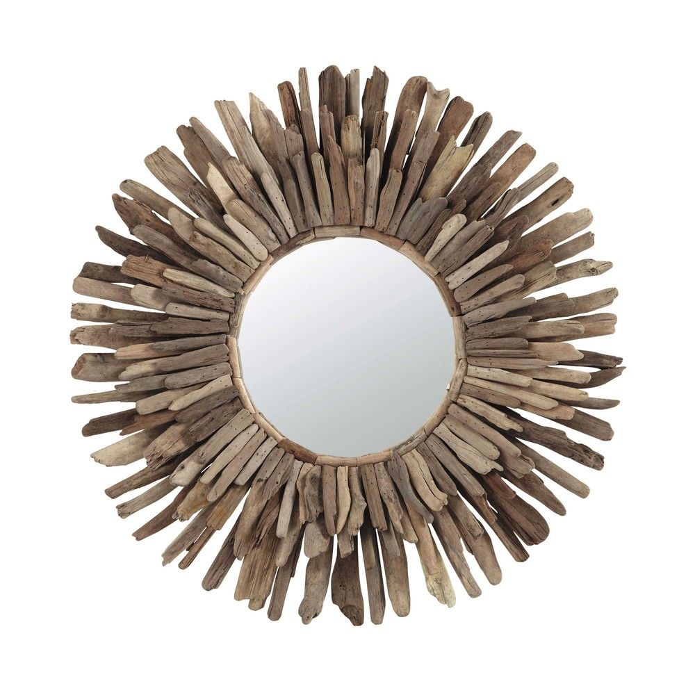 Miroir en bois flott d 74 cm nature pinterest - Miroir en bois flotte ...
