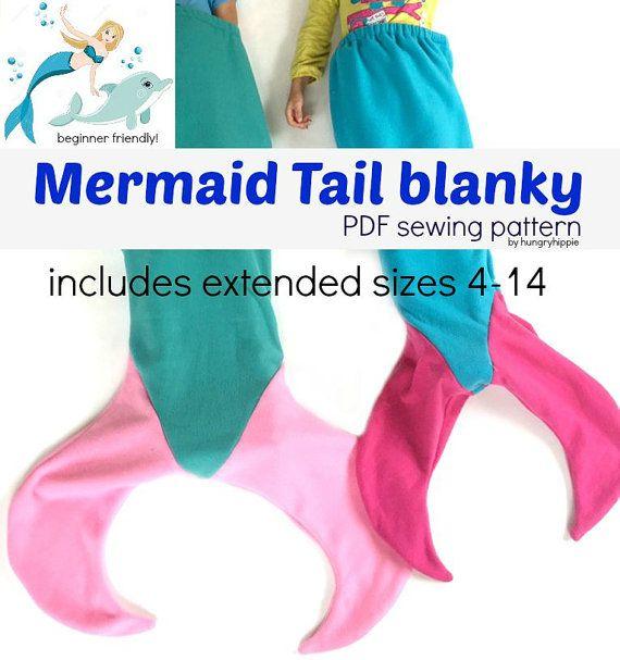 Mermaid Tail Blanket Pdf Sewing Pattern Download For Kids Size 4 14