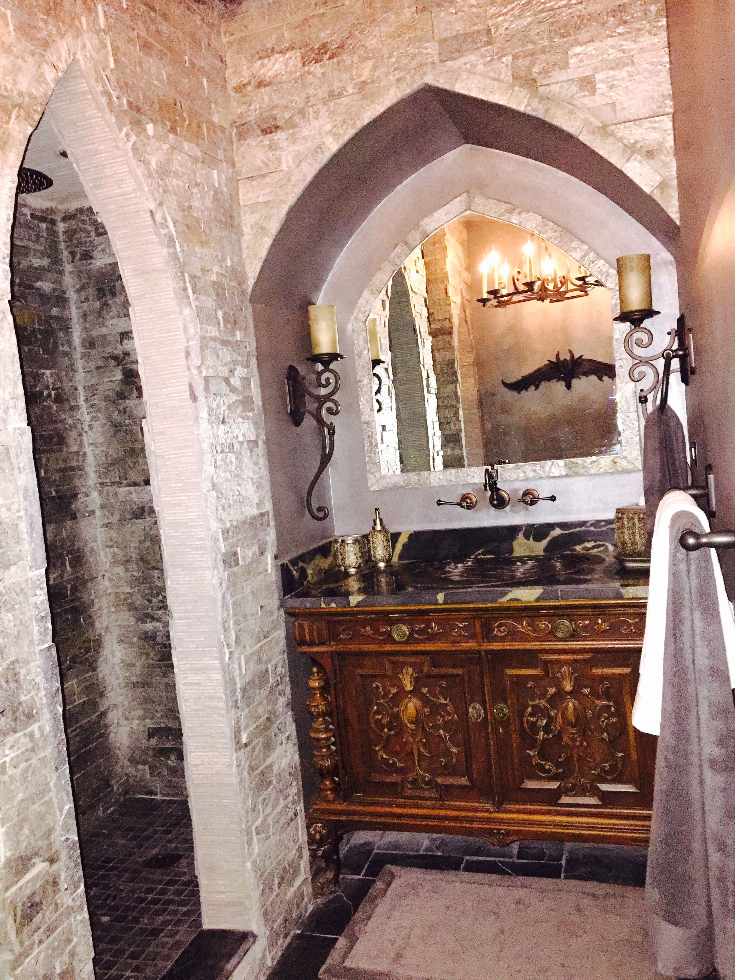 Vanity Area In Our Old World Castle Bathroom With Archway Over Vanity And Arched Stone Entrance To Open Shower Castle House Bathroom Design Open Showers