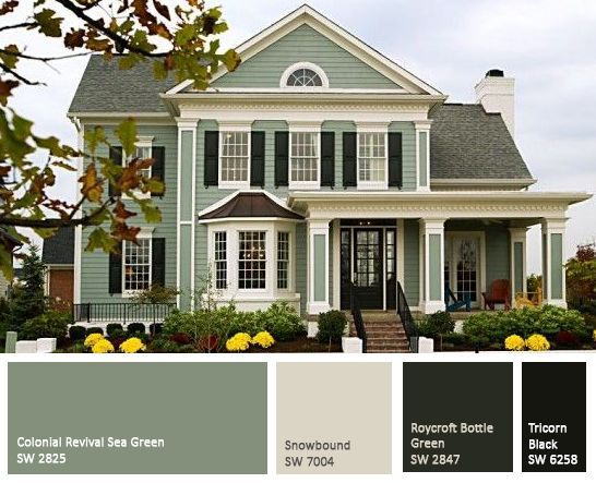 Exterior Of Homes Designs House paintings Green exterior paints