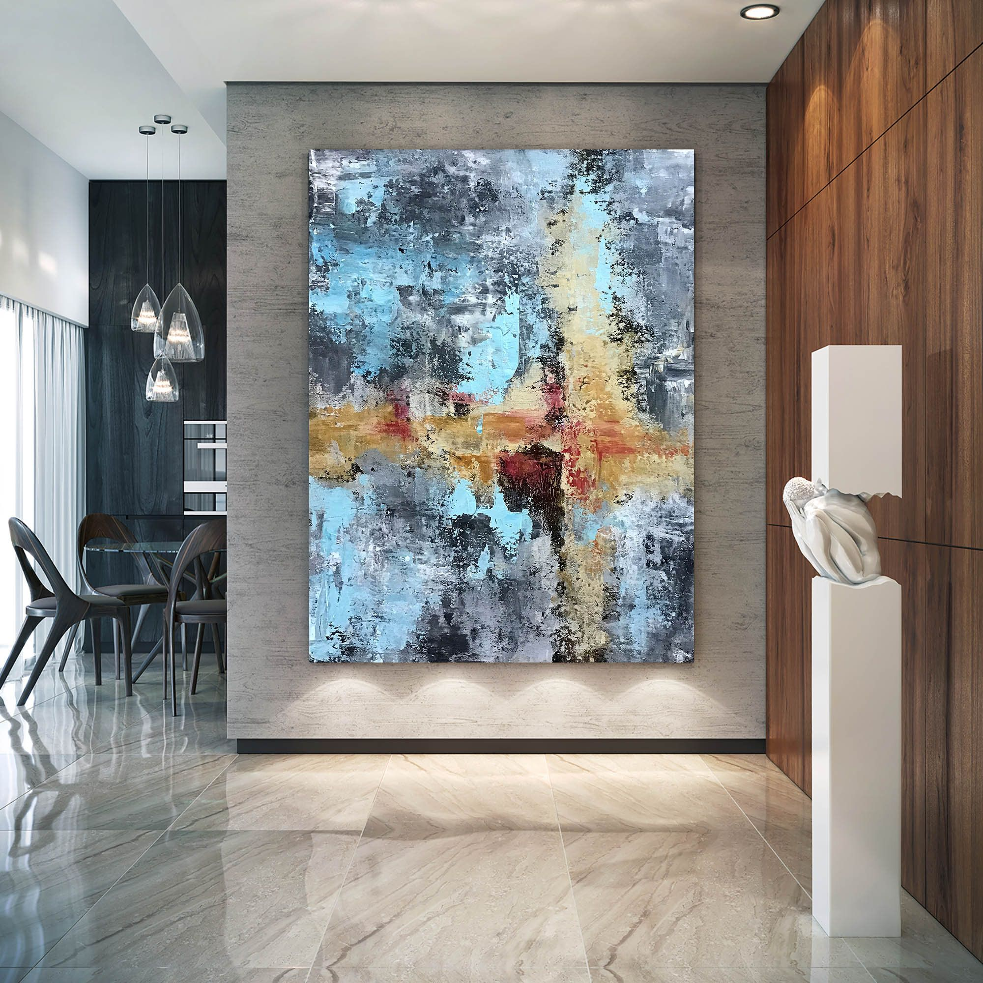 Large Abstract Paintingbright Painting Artlarge Vertical Etsy Large Modern Wall Art Large Abstract Wall Art Extra Large Wall Art