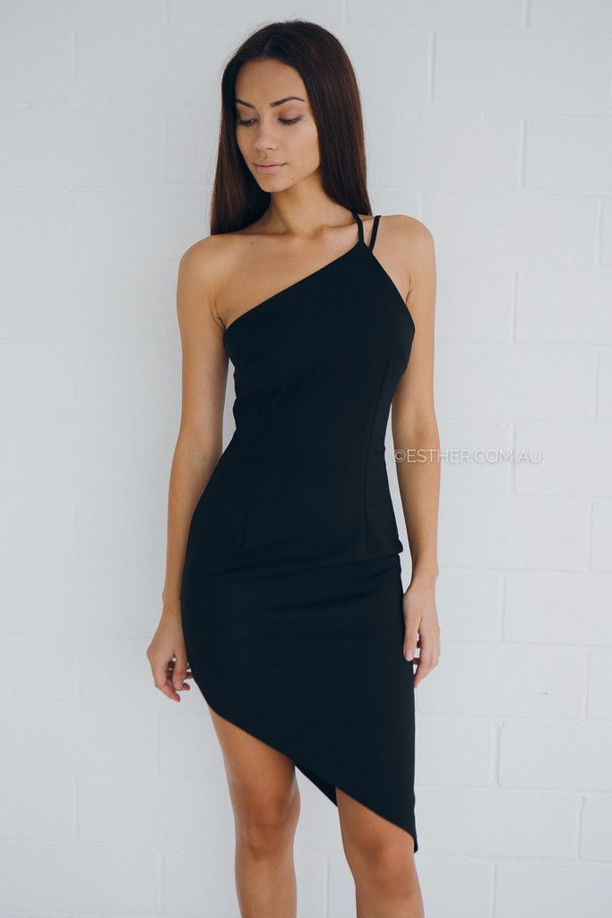 colour: black fabric: nylon, cotton, spandex fit: standard sizing, fitted style, one̴ shoulder style, medium weight fabric, lined, invisible back zipper, asymmetrical hemline̴ length: approx 63cm from waist to longest point of hemline, 33cm from waist to shortest point of hemline our model is 163cm tall and is pictured in a size 8/S