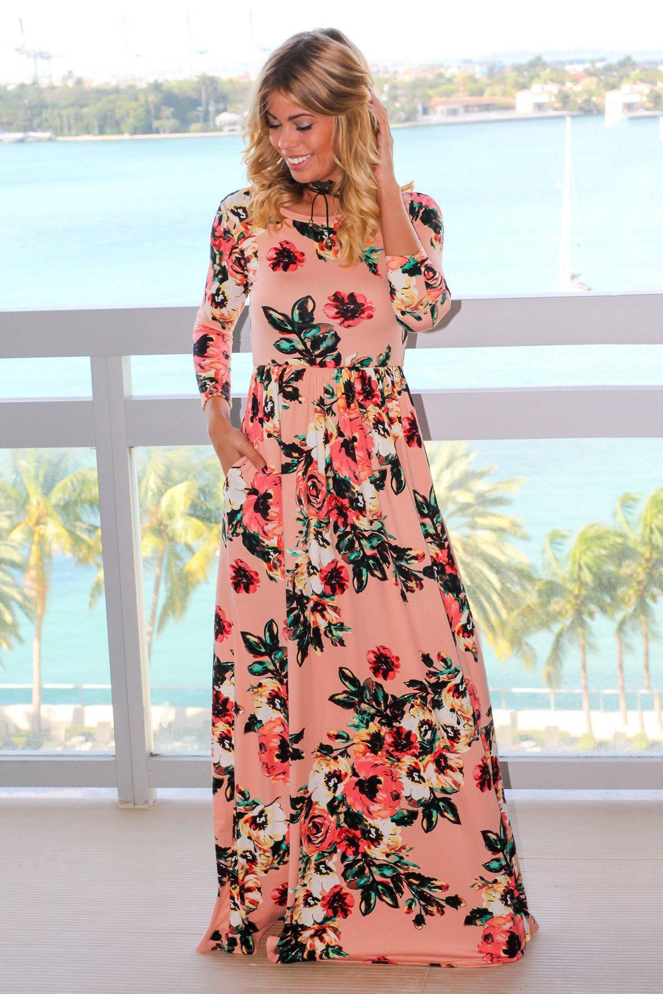 Blush Floral Maxi Dress With 3 4 Sleeves Maxi Dress With Sleeves Floral Maxi Dress Yellow Maxi Dress [ 2047 x 1365 Pixel ]