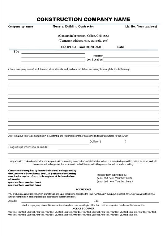 Printable Sample Construction Contract Template Form – Simple Construction Contract Form