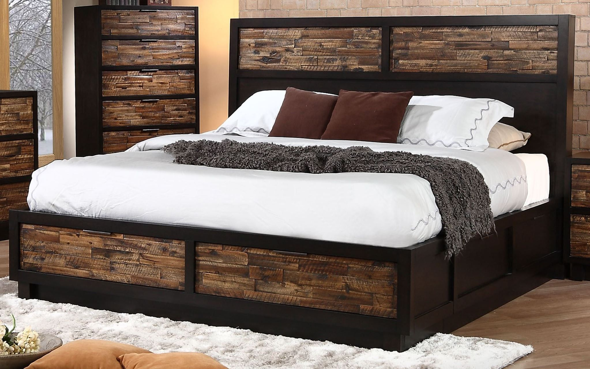 Makeeda Rustic Cal King Platform Storage Bed Furniture