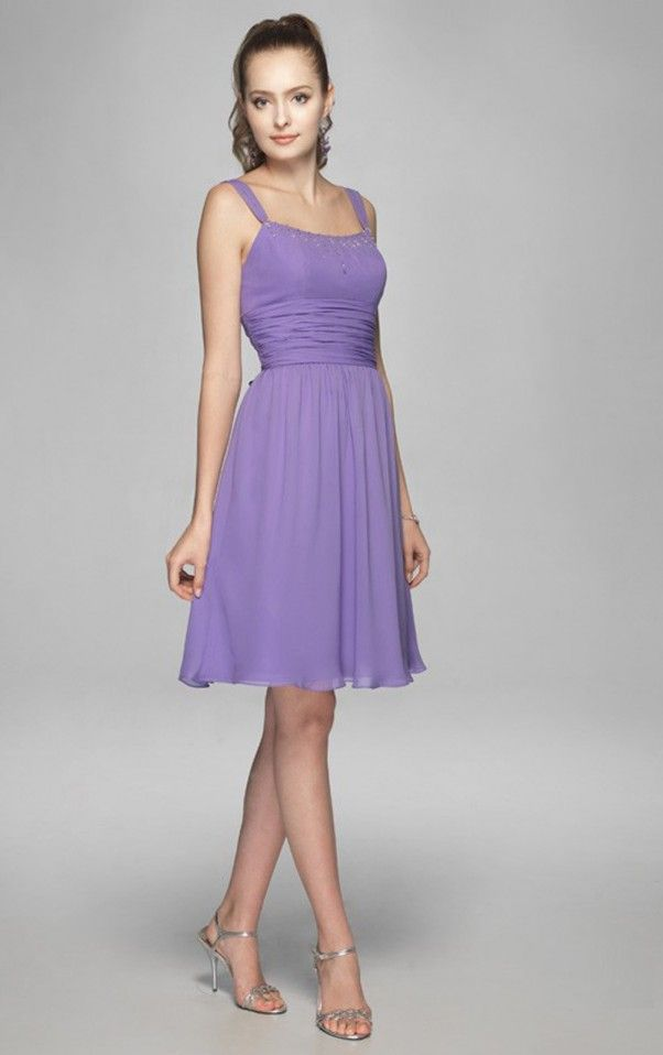 Sheath Knee-length Spaghetti Straps Lilac Dress | Bridesmaids ...