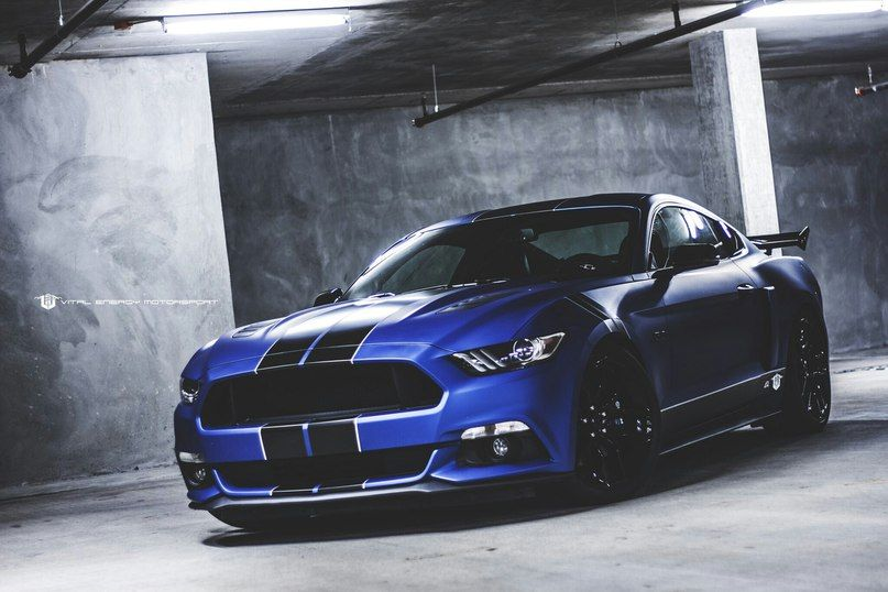 Blue Ford Mustang Gt 2015 With Black Stripes Muscle Car Wallpaper