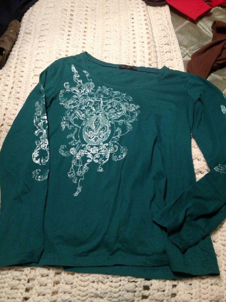 Seven 7 Women's green  Long Sleeve Shirt sz L Fleur de lis pattern  #Seven7 #GraphicTee