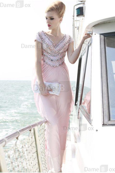 Etui romantisches schick Abendkleid mit gekappten Ärmeln aus Chiffon - Damebox.com