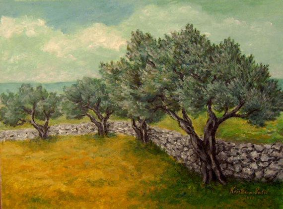 Landscape Painting Olive Tree Acrylic On By Kristinavalicart Landscape Paintings Landscape Painting