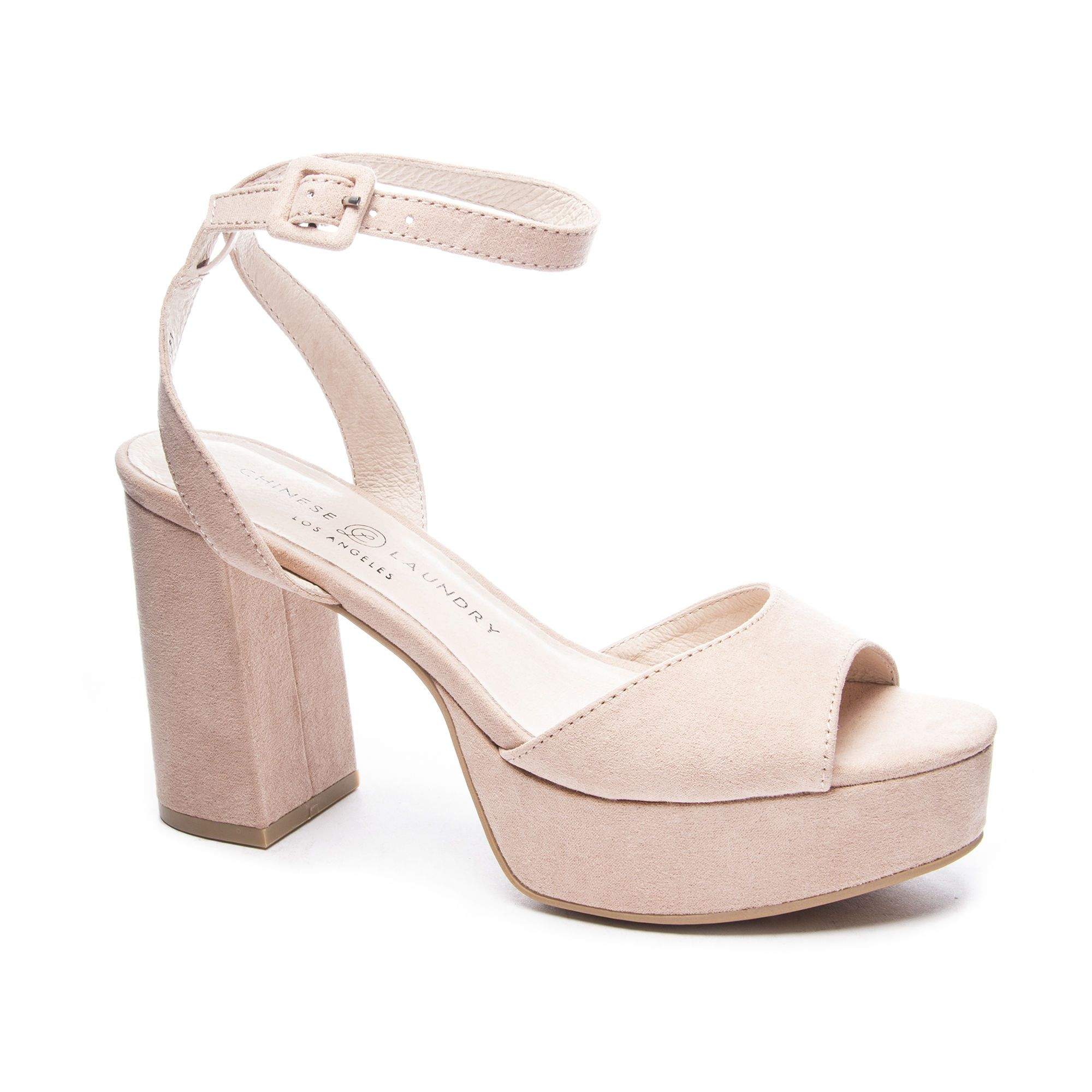 Theresa Platform Sandal Heels Womens High Heels Low Block Heel