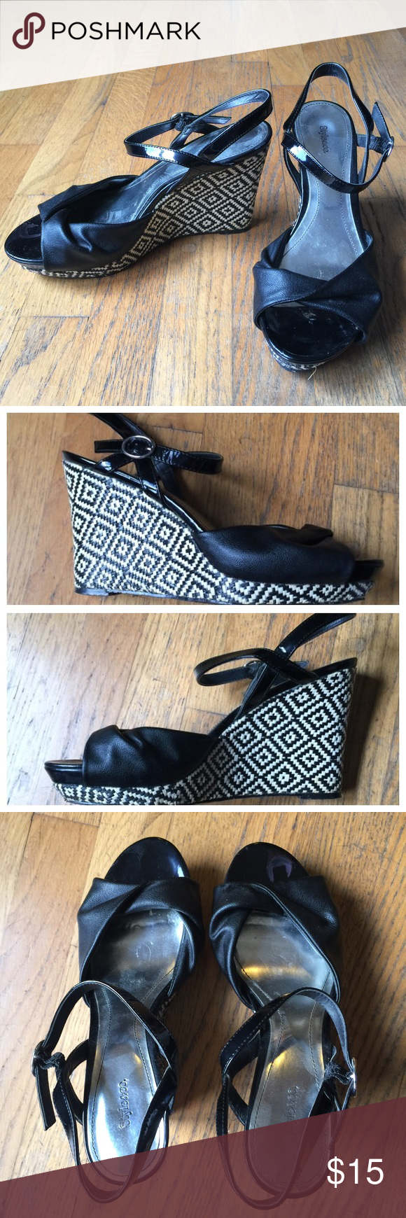 """STYLE & CO. Black Platform Tribal Wedge Sandals So cute!  STYLE & CO. Black  Platform Tribal Wedge Sandals.  Black man made upper.  4"""" back & 1/2"""" front platform heels.  NOTE:  Right shoe toe has nail polish & tip of bottom rubber sole has missing tip... see pics. Style & Co Shoes Wedges"""