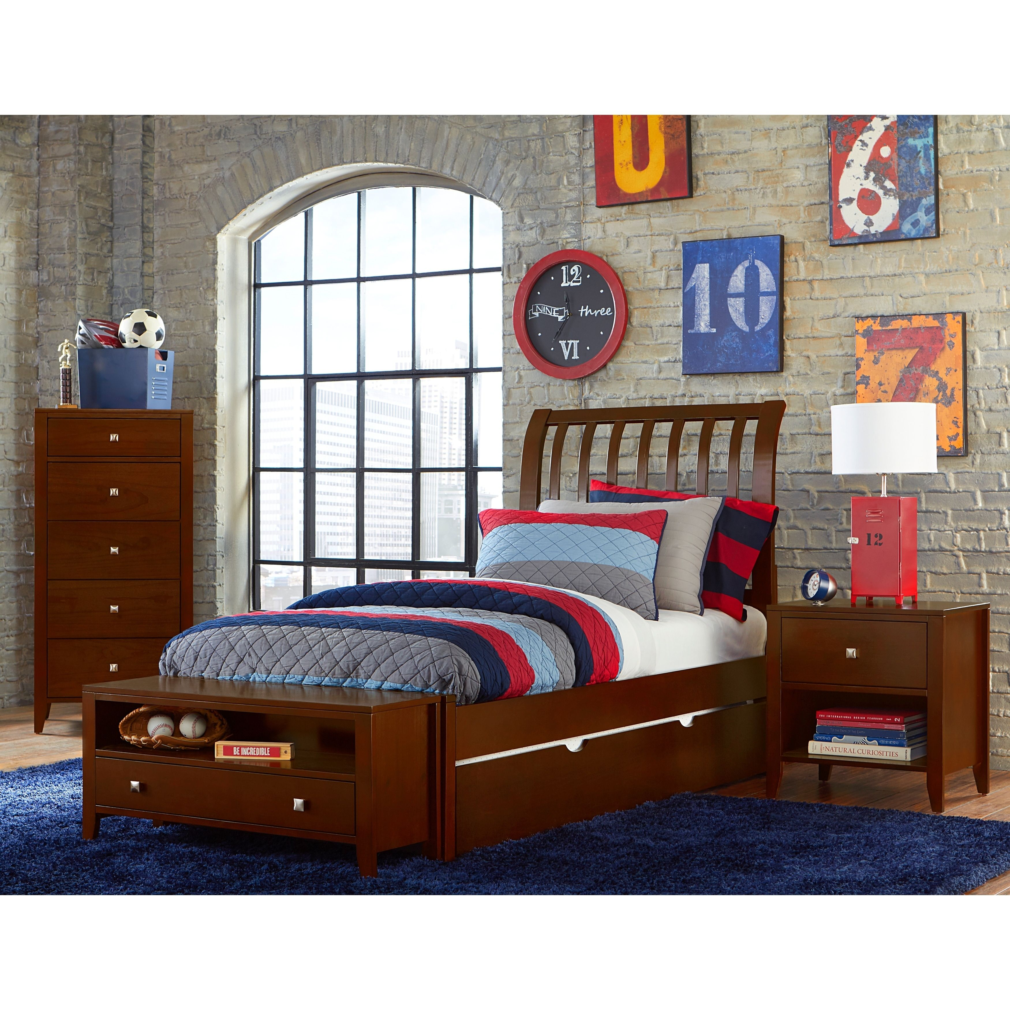 Hillsdale Pulse Full Rake Sleigh Bed with Trundle , Cherry