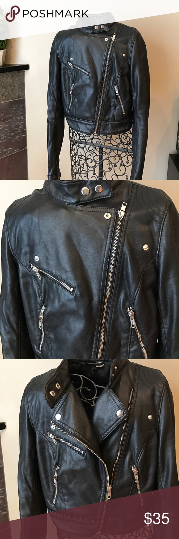 H&M Black Faux Leather Cropped Biker Jacket Cropped and