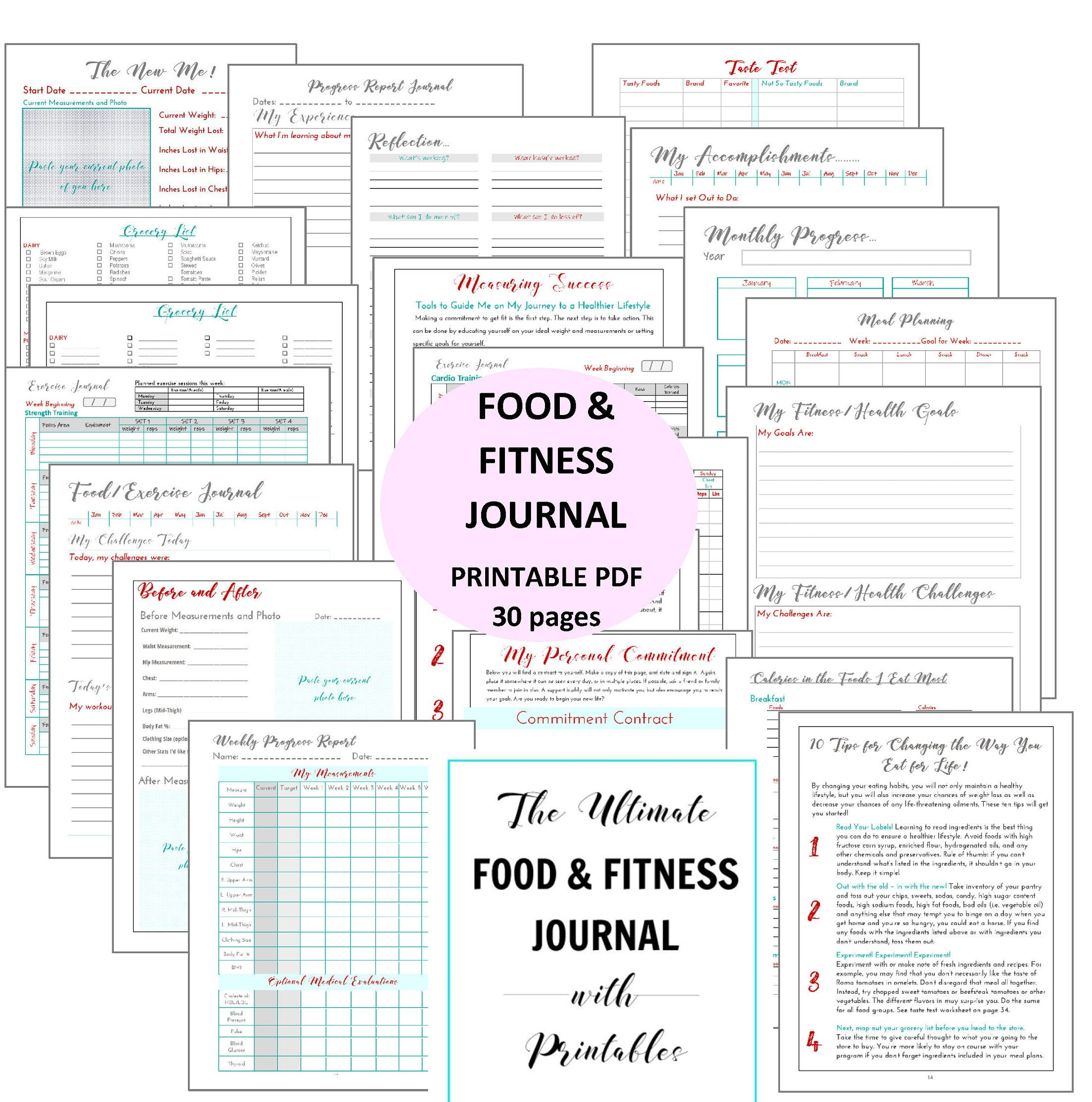 The Ultimate Food Amp Fitness Journal With Printable S