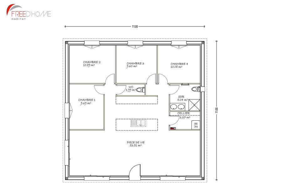 Photo Ce Sont Les Plans De La Maison Carrée Avec Un Pat Plan - Plan de maison 2 pieces
