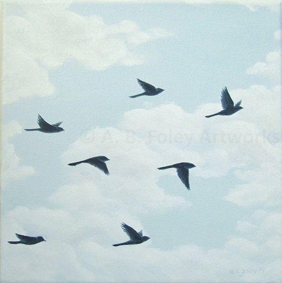Original Bird Painting of Flying Birds in Blue Sky, Bird Silhouette ...