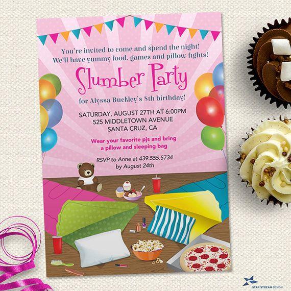 Printable Sleepover Sleep Under Slumber Birthday Party