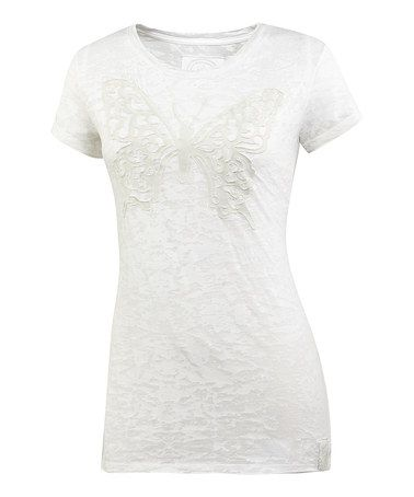 Take a look at this Cloud White Butterfly Topnotch Tee - Women by Life is good® on #zulily today!