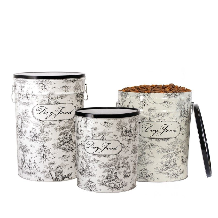 """Harry Barker dog toile puts an adorable canine twist on the classic European pattern. Made from recycled steel, our dog toile food canister is as sturdy as it is decorative, and features a tight-fitting lid and double handles.  Small Food Storage Canister (3.5 gallons) 9.75""""w x 11.25""""h, holds 10 lbs. of dry dog food  Medium Food Storage Canister (6.5 gallons) 12""""w x 14.5""""h, holds 22 lbs. of dry food  Large Food Storage Canister (11 gallons) 13.5""""w x 19.5""""h, holds 40 lbs. of dry dog food…"""