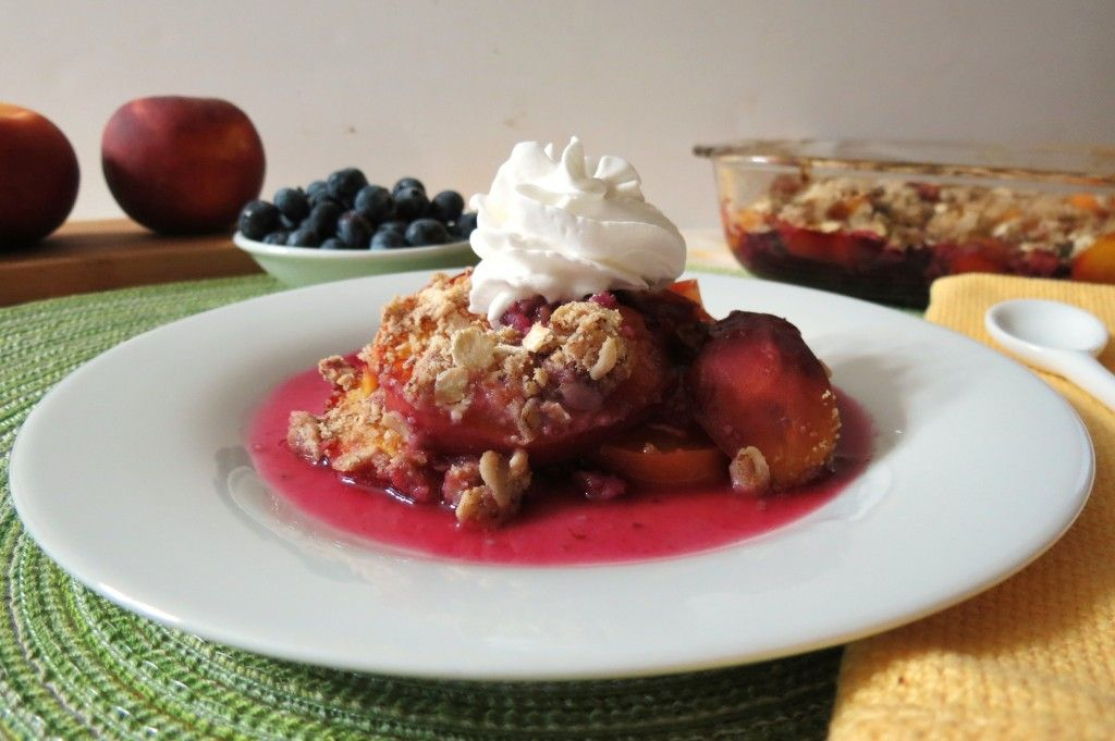 Blueberry Peach Crisp - A sweet gluten free crisp made with fresh peaches and blueberries.