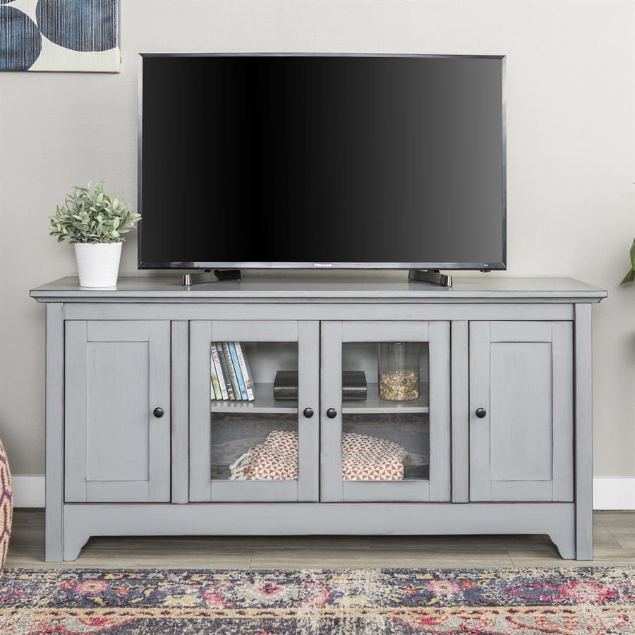 52 Tv Stand With Glass Doors Tv Media Stands Glass Tv Stand
