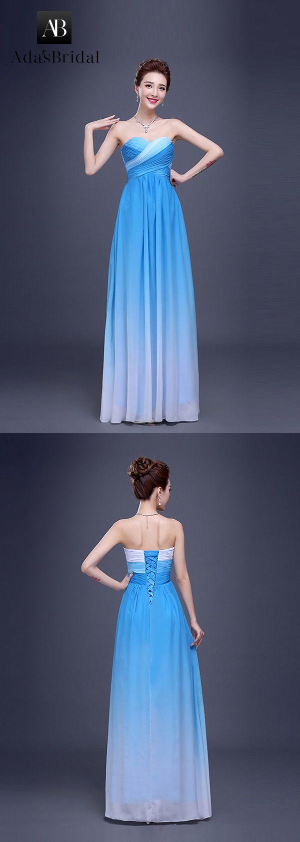 In stock chic chiffon sweetheart neckline aline prom dress blue