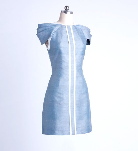 Ronaldo Arnaldo Raw Silk Dress with Swagged Sleeves